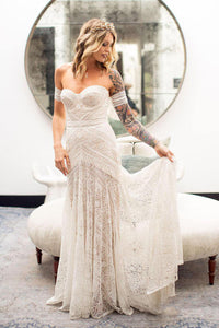 Romantic Simple Off-the-shoulder Sweep Train Long Tulle Beach Bridal Gown Wedding Dresses OHD145 | Cathyprom