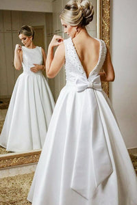 A-Line Round Neck Backless Floor-Length Wedding Dress with Beading Bowknot OHD029 | Cathyprom