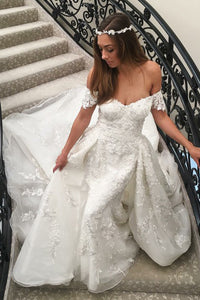 A-Line Off-the-Shoulder Sweep Train White Wedding Dress with Appliques OHD003 | Cathyprom