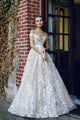 Beautiful A-line Scoop Sweep/Brush Train Sleeveless Long Tulle Bridal Gown Wedding Dresses with Appliques OHD169 | Cathyprom
