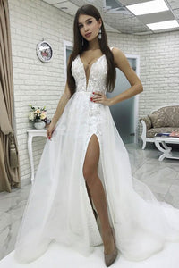 A-Line V-Neck Sweep Train White Lace Wedding Dress with Split OHD046 | Cathyprom