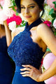 Mermaid Round Neck Sweep Train Dark Blue Bridesmaid Dress with Appliques Beading OHS004 | Cathyprom