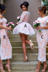 Ball Gown V-Neck Long Sleeves Short Pink Lace Bridesmaid Dress OHS044 | Cathyprom
