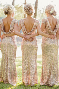 Mermaid Bateau Backless Cap Sleeves Gold Sequined Bridesmaid Dress OHS005 | Cathyprom