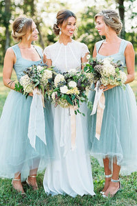 A-Line Square High Low Light Blue Bridesmaid Dress with Beading OHS017 | Cathyprom