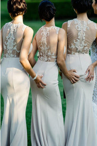 Mermaid Round Neck Sweep Train Ivory Bridesmaid Dress with Appliques OHS018 | Cathyprom