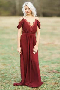 A-Line Spaghetti Straps Floor-Length Dark Red Chiffon Bridesmaid Dress with Lace OHS009 | Cathyprom