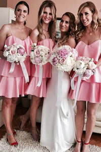 A-Line Spaghetti Straps Short Pink Tiered Bridesmaid Dress OHS056 | Cathyprom