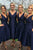 A-Line V-Neck High Low Royal Blue Satin Bridesmaid Dress with Pockets OHS007 | Cathyprom