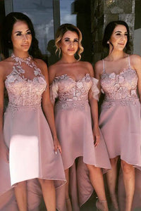 A-Line Off-the-Shoulder High Low Blush Bridesmaid Dress with Appliques OHS027 | Cathyprom