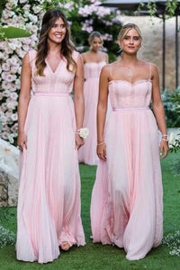 A-Line Spaghetti Straps Floor-Length Pleated Chiffon Bridesmaid Dress OHS095 | Cathyprom