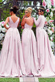 Mermaid V-Neck Sweep Train Detachable Bridesmaid Dress with Appliques OHS096 | Cathyprom