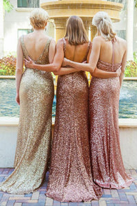 Sheath V-Neck Backless Champagne Sequined Bridesmaid Dress with Ruched OHS030 | Cathyprom