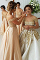 A-Line Off-the-Shoulder Bridesmaid Dress with Sequins Pockets OHS031 | Cathyprom