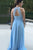 A-Line Round Neck Open Back Light Blue Bridesmaid Dress with Ruched OHS032 | Cathyprom