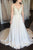 A-Line V-Neck Sweep Train White Chiffon Wedding Dress with Beading OHD008 | Cathyprom
