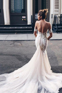 Mermaid Sweetheart Backless Court Train Wedding Dress with White Lace OHD009 | Cathyprom