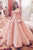 A-line Sweetheart Short Sleeves Illusion Back Long Pink Prom Dress with Lace LPD26 | Cathyprom