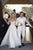 A-Line Off-the-Shoulder Sweep Train Tulle Long Beaded Slit White Lace Up Wedding Dress OHD234