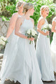 Popular A Line Round Neck Long Chiffon Light Blue Bridesmaid Dress with Ruched OHS149