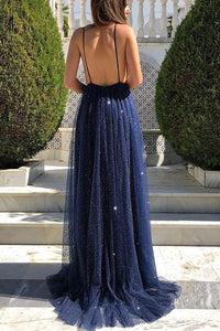 Sexy A Line Backless Sleeveless Spaghetti Straps Prom Dresses OHC150 | Cathyprom