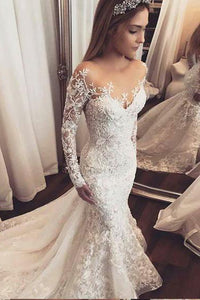 Luxury Sexy Trumpet/Mermaid Long Sleeve Wedding Dresses Bridal Gown OHD095 | Cathyprom