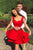 A Line Off the Shoulder Red Short Homecoming Dresses Ruffles OHM027 | Cathyprom
