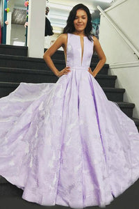 A-Line Round Neck Floor-Length Lilac Printed Prom Dress with Pleats LPD83 | Cathyprom