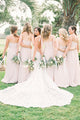 Formal A Line Floor Length Long Chiffon Sweetheart Blush Rose Bridesmaid Dress OHS148