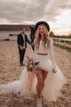 Mermaid Two Piece Tulle White Long Sleeves Wedding Dress Sweep Train Slit Beach Bridal Gown OHD235