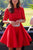 Elegant Bateau A-line Half sleeves Short Prom Dress Red Lace Homecoming Dress LPD69 | Cathyprom