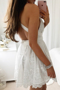 V-neck White A-line Lace Sleeveless Open Back Homecoming Dress OHM039 | Cathyprom