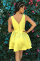 V-neck Satin Cutout Yellow Pleat Simple Homecoming Dress OHM210