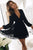Elegant Fit & Flare Black Lace Short Homecoming Dress with Long Sleeves OHM188