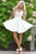 Chic Homecoming Dresses V-neck Lace Bodice White Chiffon Short Party Dress with Keyhole Back Homecoming Dress OHM195