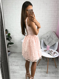 Stunning V-neck A-line Lace Pink Short Homecoming Dress with Zipper Party Dress OHM187