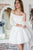 A-Line Off-the-Shoulder 3/4 Sleeves White Lace Homecoming Dress OHM189
