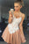 A-line Square Spaghetti Lace Appliques Satin Homecoming Dress OHM211