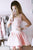 A-line V-neck Lace Bodice Blush Pink Layered Homecoming Dress with Long Sleeves OHM212