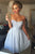 Gorgeous Strapless Light Blue Lace Short Homecoming Party Dress Short Prom Dress OHM182
