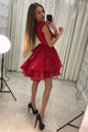 A-Line Jewel Lace Red Pleat Homecoming Dress with Tiered Skirt OHM036 | Cathyprom