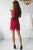 Sheath High Neck Red Lace Party Dress with Long Sleeves Homecoming Dress OHM203