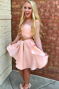 Two Piece Blush Pink Lace Bodice Long Sleeve Homecoming Dress with Pleated Skirt OHM204