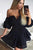 Off the Shoulder Black Low V-neck Lace Party Dress Homecoming Dress with Balloon Sleeves OHM205