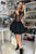 Black Long Sleeve Appliques Bodice Satin Short Party Dress with Tiered Skirt OHM206