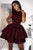 Stunning Burgundy High Neck Satin Tiered Short Homecoming Dress with Pleats OHM208