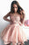 Illusion Jewel Lace Applique Pink Long Sleeve Homecoming Dress with Tiered Skirt OHM199
