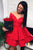 Off the Shoulder V-neck Tiered Red Satin Homecoming Dress Long Sleeves OHM060 | Cathyprom