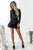 A-line Black Lace Hollow Out Party Dress with Long Sleeves Homecoming Dress OHM193