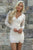 V-neck Lace Tight White Short Party Dress with Long Sleeves Homecoming Dresses OHM192